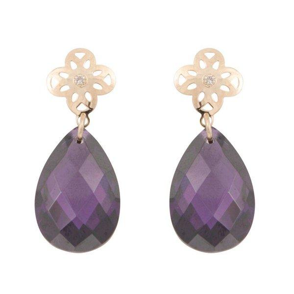 Earrings flower purple