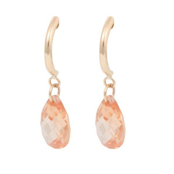 Earrings Half Hoop & Pear - Brown cubic zirkonia