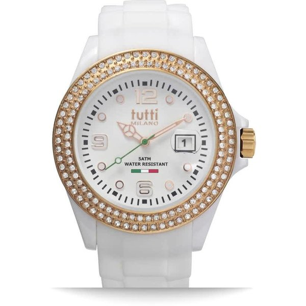 Tutti Milano TM003WH-RO-Z- Horloge - 42.5 mm - Wit - Collectie Cristallo