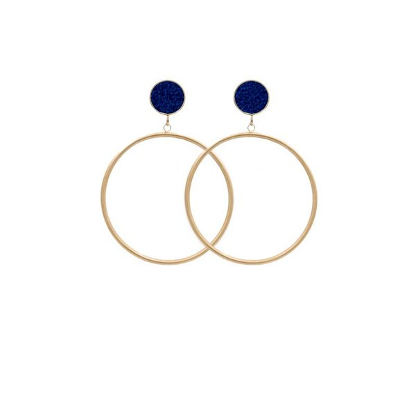 EARRING CIRCLE MATT METALLIC GOLD/COBALT