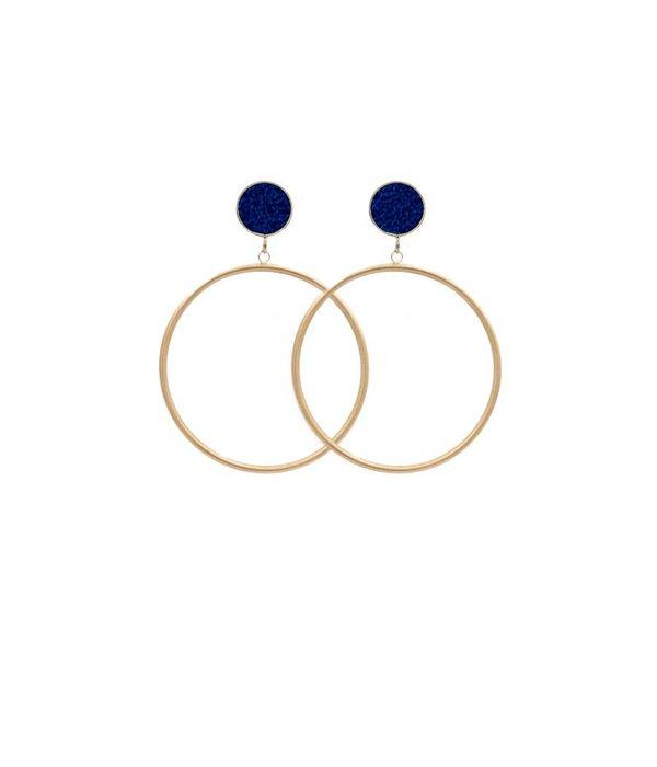 Amjoya EARRING CIRCLE MATT METALLIC GOLD/COBALT