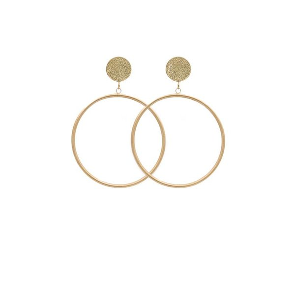 EARRING CIRCLE MATT METALLIC GOLD/GOLD