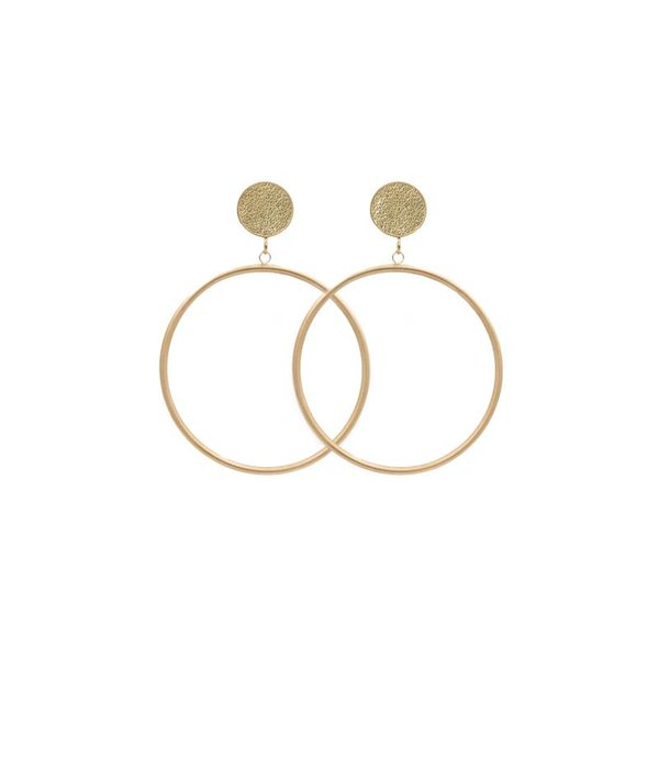 Amjoya EARRING CIRCLE MATT METALLIC GOLD/GOLD