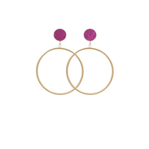 EARRING CIRCLE MATT METALLIC GOLD/PINK