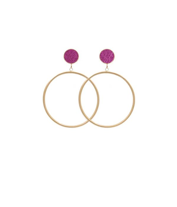 Amjoya EARRING CIRCLE MATT METALLIC GOLD/PINK