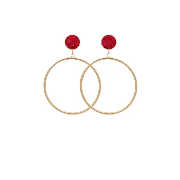 EARRING CIRCLE MATT METALLIC GOLD/RED