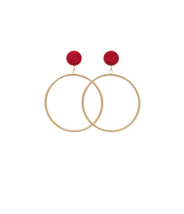Amjoya  EARRING CIRCLE MATT METALLIC GOLD/RED