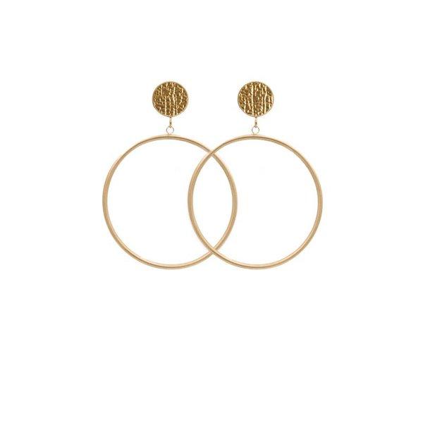 EARRING CIRCLE MATT METALLIC STRUCTURE GOLD/GOLD