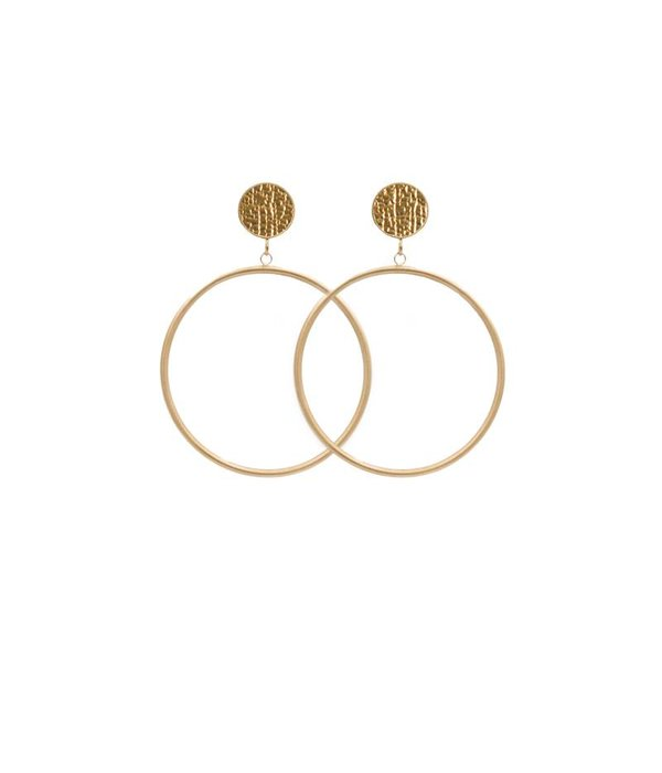 Amjoya EARRING CIRCLE MATT METALLIC STRUCTURE GOLD/GOLD