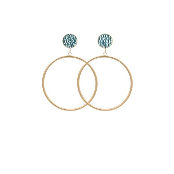 EARRING CIRCLE MATT METALLIC STRUCTURE GOLD/MINT