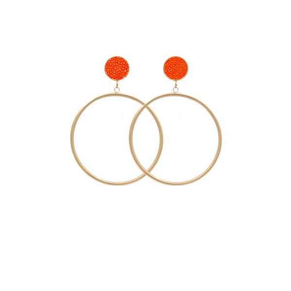 EARRING CIRCLE MATT STINGRAY GOLD/ORANGE