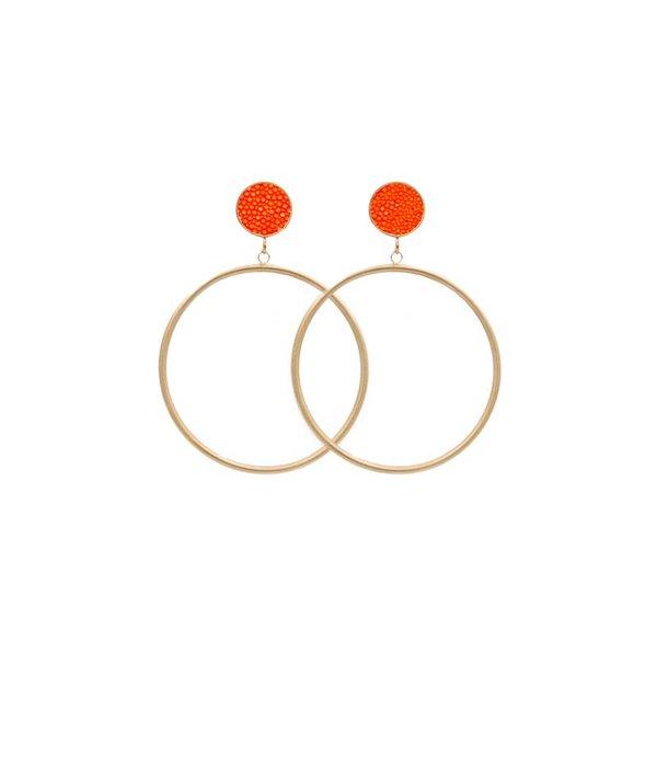 Amjoya EARRING CIRCLE MATT STINGRAY GOLD/ORANGE