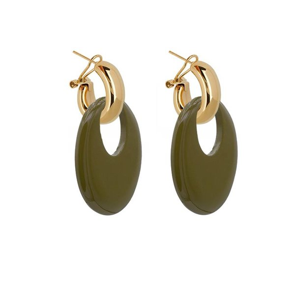 EARRING BUFFELHORN ARMY GREEN