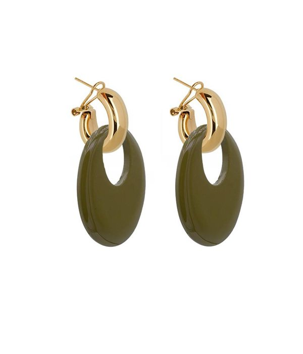 Amjoya EARRING BUFFELHORN ARMY GREEN