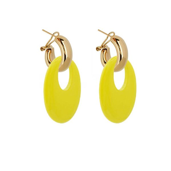 EARRING BUFFELHORN LEMON