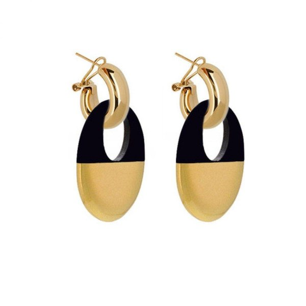 EARRING BUFFELHORN BLACK/GOLD