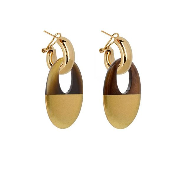 EARRING BUFFELHORN NATURAL BROWN/GOLD