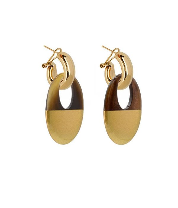 Amjoya EARRING BUFFELHORN NATURAL BROWN/GOLD