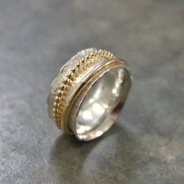 Ring zilver + Gold Filled Chique