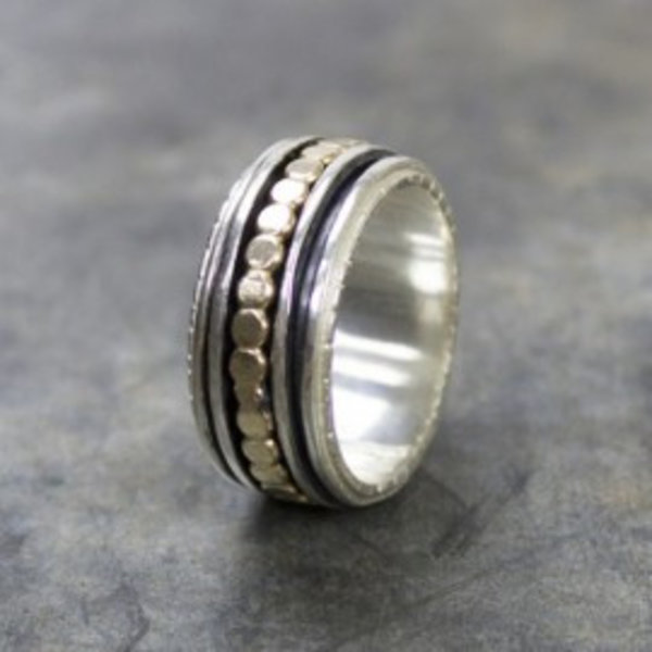 Ring zilver + Gold Filled Klassiek