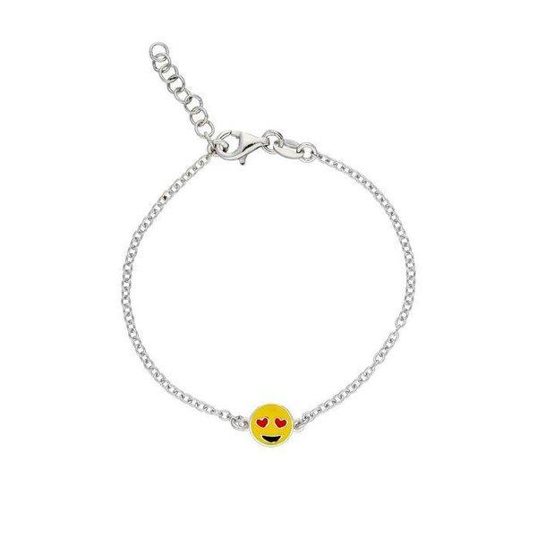 armband met emoticon - zilver gerhodingeerd - ankerschakel - kussend hartje - 15 + 2 c