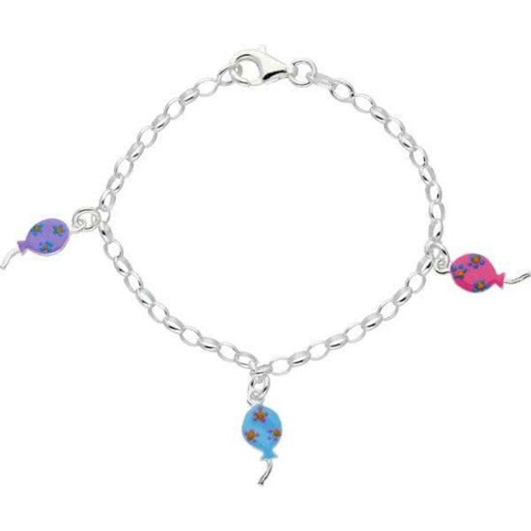 bedelarmband - zilver - ovale jasseron - emaille - paars - blauw - roze - drie ballonnen - 16 cm