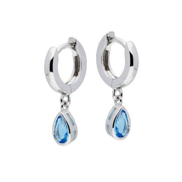 Zilveren oorringen Gerodineerd blauwe druppel