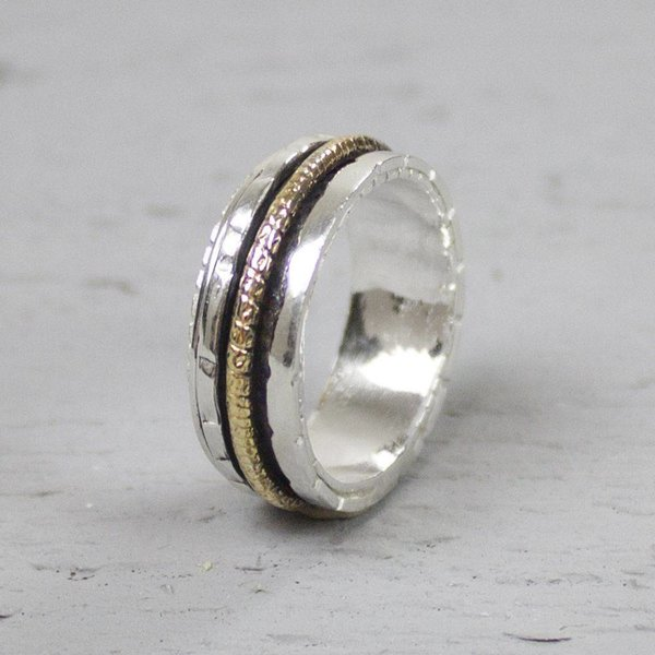 18483 - Ring zilver + Gold Filled Energiek