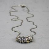 Jeh Jewels  19692 - Collier zilver oxy en goldfilled met losse ringetjes