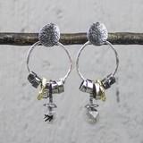 Jeh Jewels  19679 - Oorsteker zilver met creool en tourmalijn kwarts