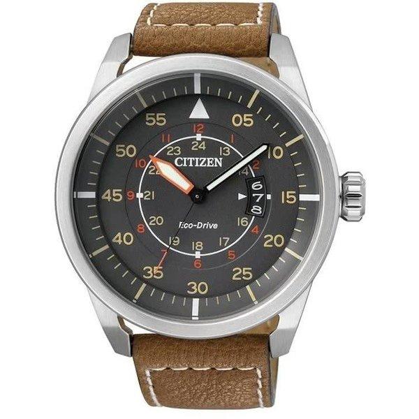 Citizen Eco-Drive - Horloge - Leer - 45 mm - Zilverkleurig / Grijs - Solar uurwerk