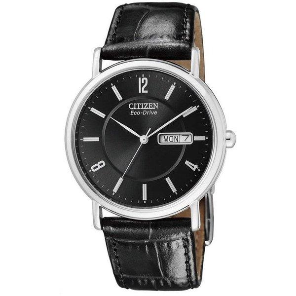 Citizen Eco-Drive - Horloge - Leer - 36 mm - Zilverkleurig / Zwart - Solar uurwerk