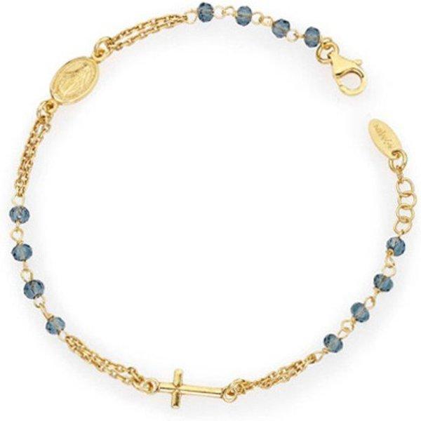 Amen Bracelet Rosary Blue Crystal Cross Charm