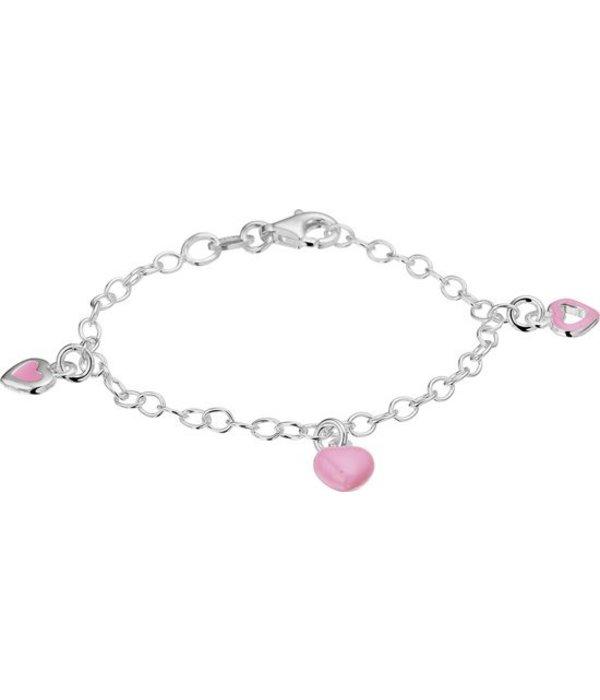 Diamant Centrum Rotterdam Huis collectie   armband - Hart - Zilver - Roze - lengte 13 cm