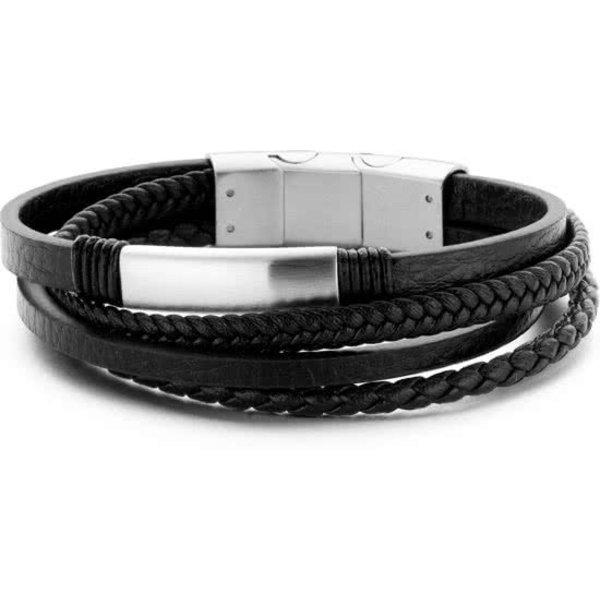 Heren armband met stalen elementen - gevlochten leer - lengte 20 + 1 cm - zwart