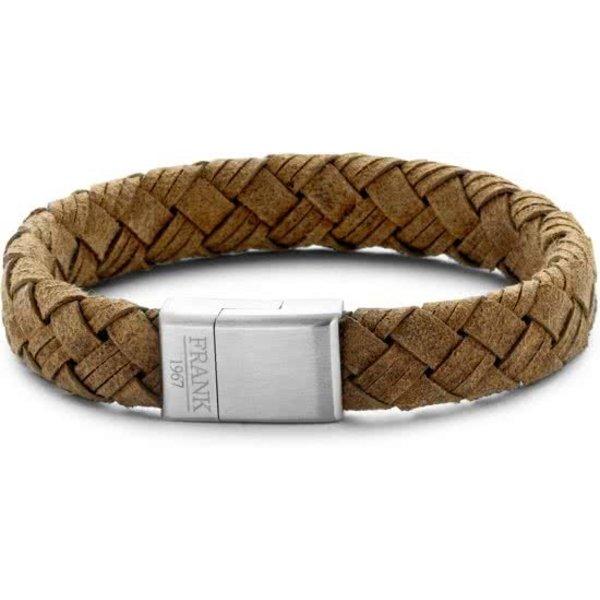 Heren armband met staal element - geweven leer - lengte 21 cm - bruinv