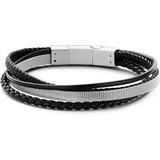 Frank 1967 Heren armband met staal elementen - gevlochten leer - lengte 20 + 1 cm - zwart