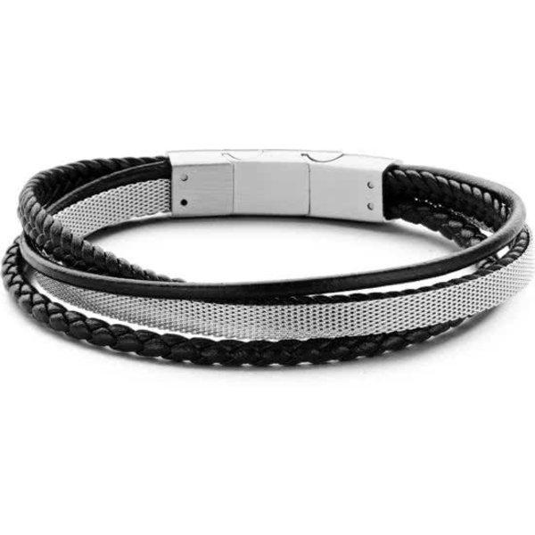 Heren armband met staal elementen - gevlochten leer - lengte 20 + 1 cm - zwart