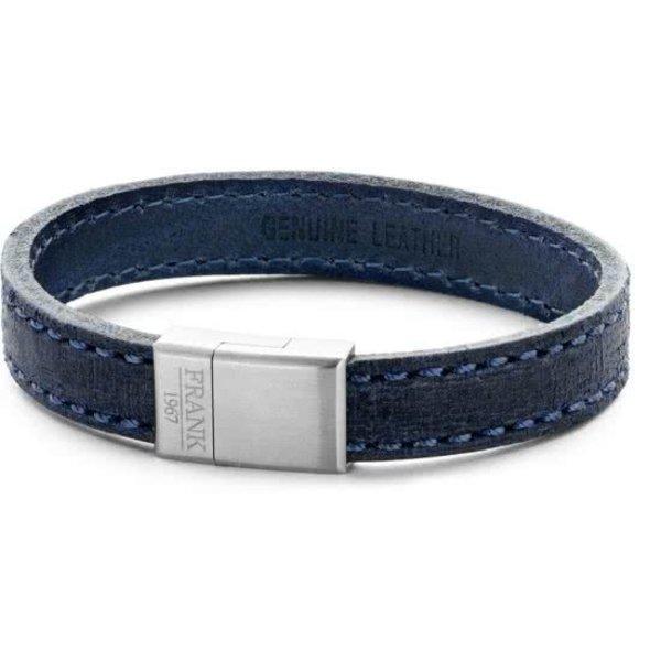 Heren armband met staal element - leer - lengte 21 cm - blauw