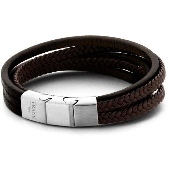 Heren armband met staal element - gevlochten leer - multilayer - lengte 21 cm - donker brui