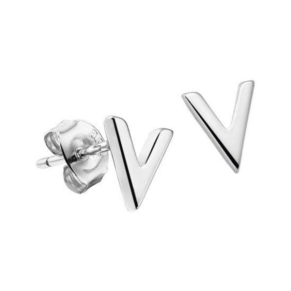 Oorknoppen V - Zilver Gerhodineerd