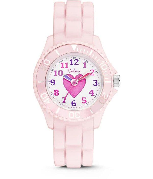 Colori Colori 5-CLK008 - Horloge - Siliconen - Roze - Ø 30 mm