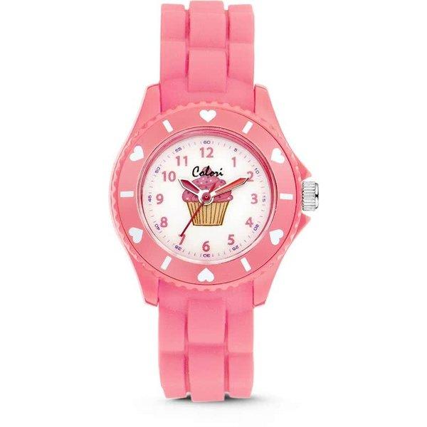 Colori Cupcake horloge - Horloge - Siliconen - 30 mm - Roze