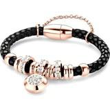 New Bling  Bedelarmband - tegelsgelegde leer met staal elementen - beads en hanger - zirkonia - one-size - zwart / rosékleurig