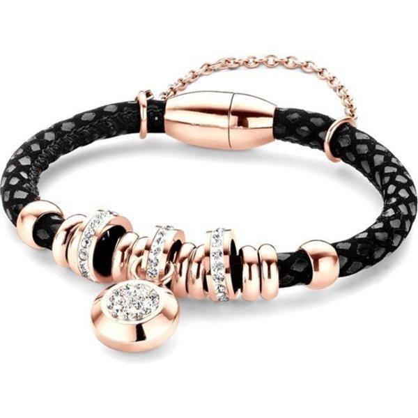 Bedelarmband - tegelsgelegde leer met staal elementen - beads en hanger - zirkonia - one-size - zwart / rosékleurig
