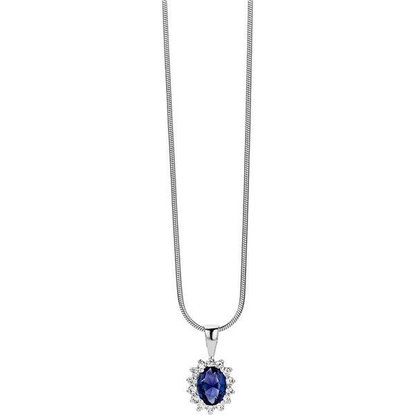 Zilveren Hanger met Collier Rozet Blauw + Wit zirkonia Rhodium