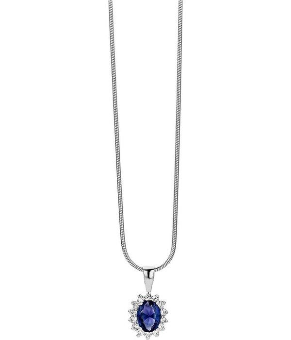 New Bling   Zilveren Hanger met Collier Rozet Blauw + Wit zirkonia Rhodium