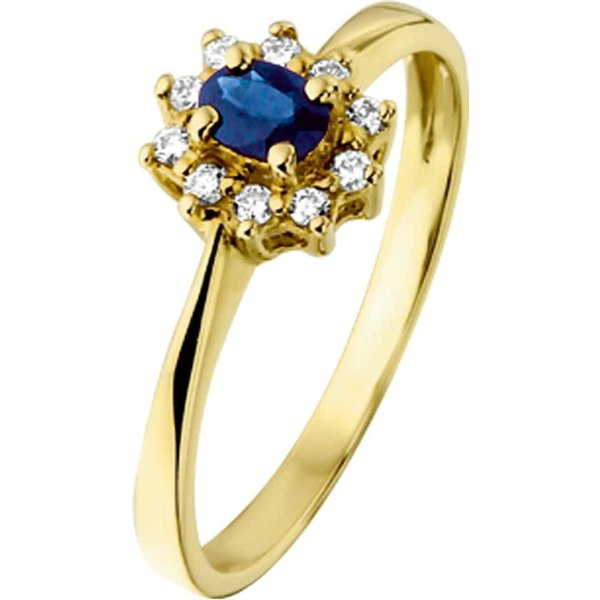 Ring Saffier En Diamant 0.08 Ct. - Geelgoud