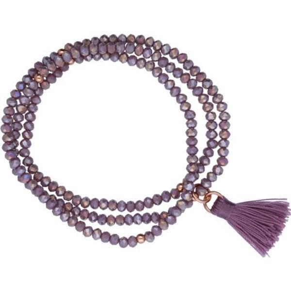 armband - kristal - paars - 18 cm