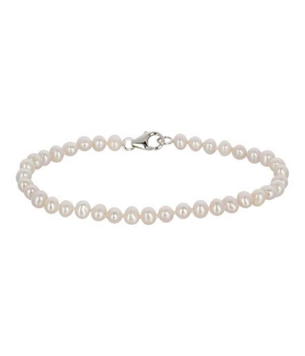 Diamant Centrum Rotterdam Huis collectie   armband - parel wit - zoetwaterparel - 19 cm